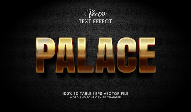 Editable golden palace text effect style