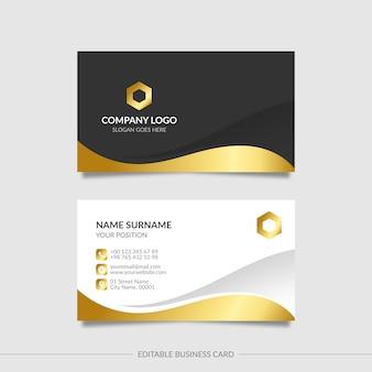 Editable golden wavy business card