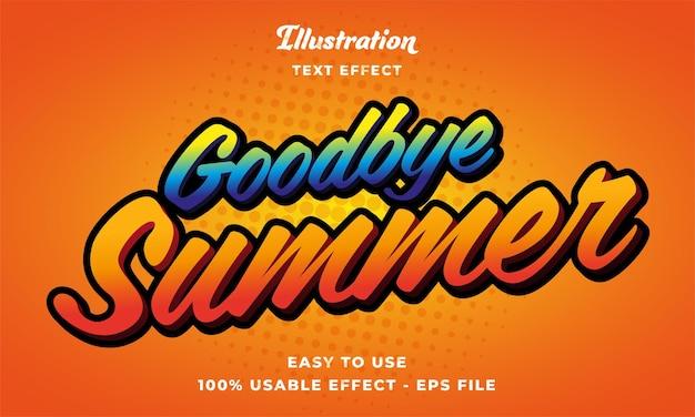 Editable goodbye summer text effect vector modern style