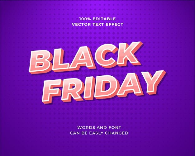 Editable gradient pink and white text effect for black friday sale banner template