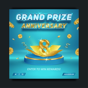 Editable grand prize anniversary blue and gold, social media banner template