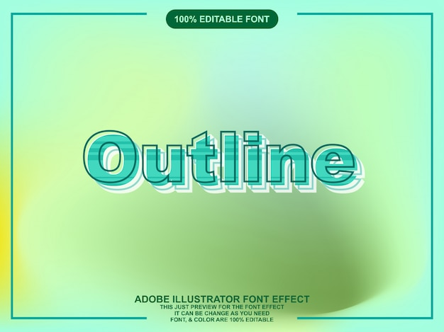 Editable graphic style bold outline text