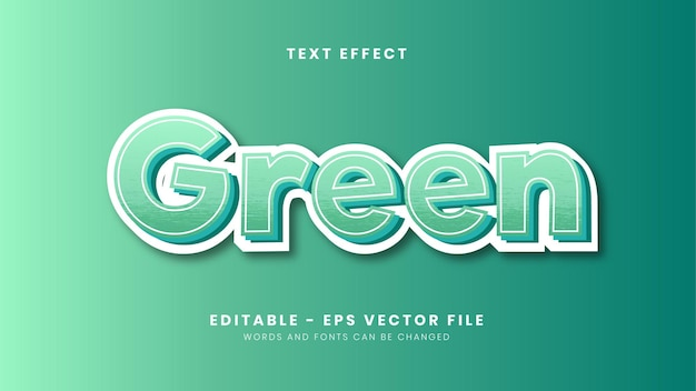 Editable green theme text effect