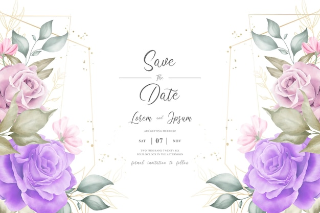 Editable hand drawn watercolor flower and leaves arrangement