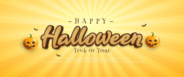 Editable happy halloween greeting template with pumpkins