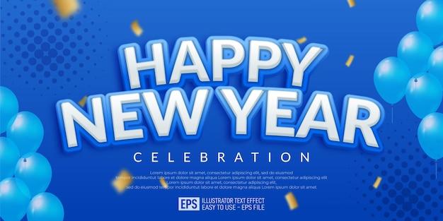Editable happy new year blue design banner