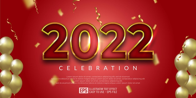 Editable happy new year red golden design banner, new year party, multiple balloons,