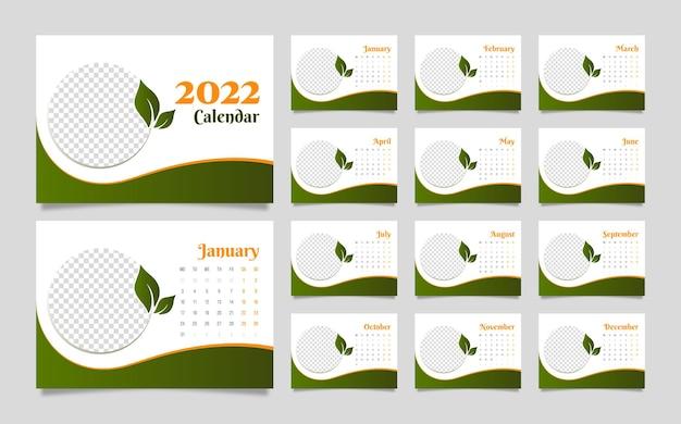 Редактируемый горизонтальный новогодний настольный и настенный календарь на 2022 год, планировщик и расписание для печати