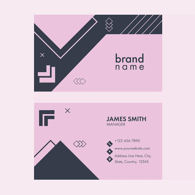 Editable horizontal business card template layout in front and back side.