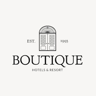 Editable hotel logo vector business corporate identity with boutique hotels and resort message