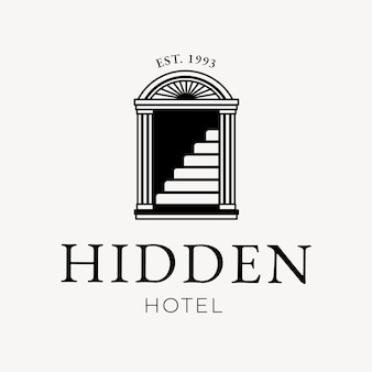 隠されたホテルのテキストで編集可能なホテルのロゴベクトルビジネスコーポレートアイデンティティ