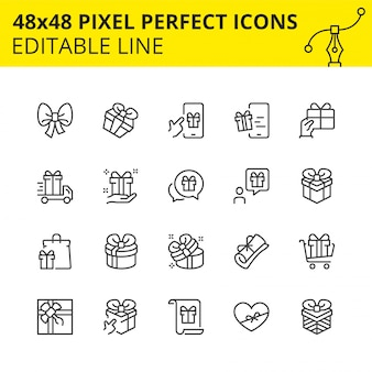 Editable icons of gift boxes and surprises.