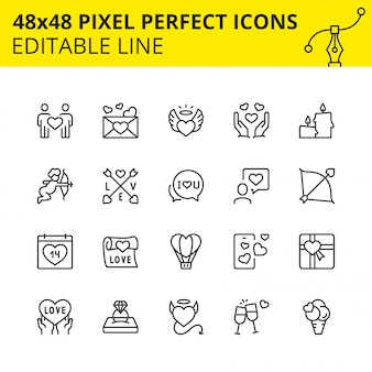 Editable icons of valentine's day
