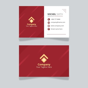 Editable id card template for organization and employee with red color