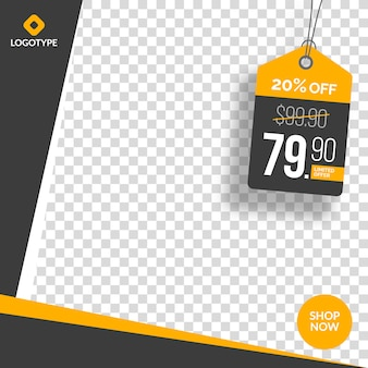Editable instagram and social media sale banner with empty abstract background