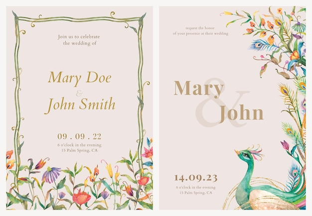 Vettore di modelli di biglietti d'invito modificabili con illustrazione di pavoni e fiori ad acquerello