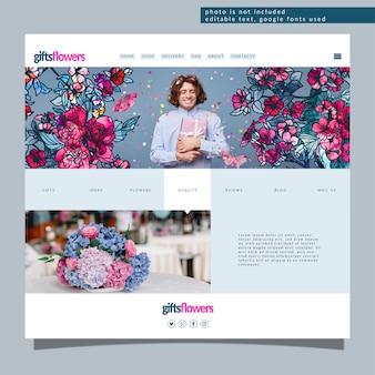 トレンディな抽象的な花で編集可能なランディングページテンプレート。ウェブサイト開発のための現代の花のコンセプト