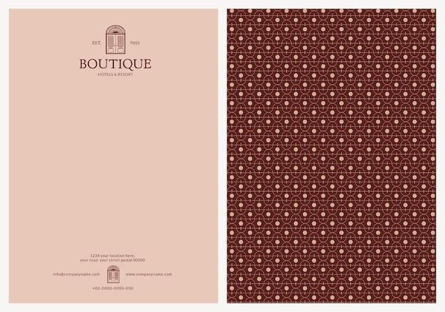 Modello di carta intestata modificabile design dell'identità aziendale per boutique e resort