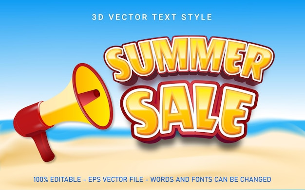 Editable lettering summer banner with megaphone and beach elements