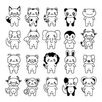 Editable line, stroke. hand drawn vector illustration character. cute pet animal. doodle cartoon style. funny baby kids print. outline symbol. isolated vector illustration. kawaii animal.