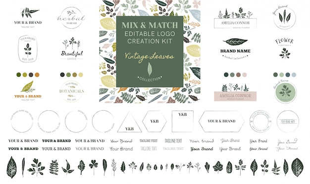 Editable logo creation kit - vintage leaves collection Premium Vector