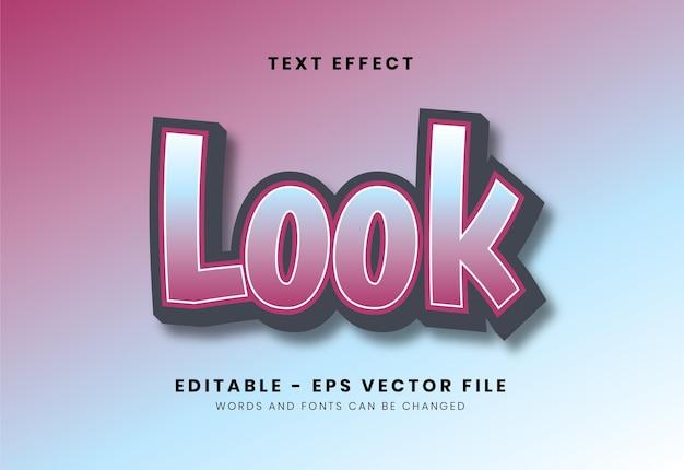 Editable look text effect Premium Vector