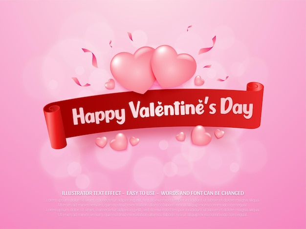 Editable lovely happy valentine's day background with ribbon and hearts