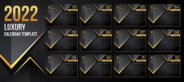 Editable luxury calendar 2022 template with black gold backround style