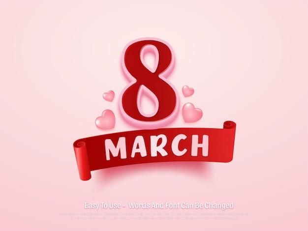 편집 가능한 3 월 여성의 날 배경 디자인 템플릿