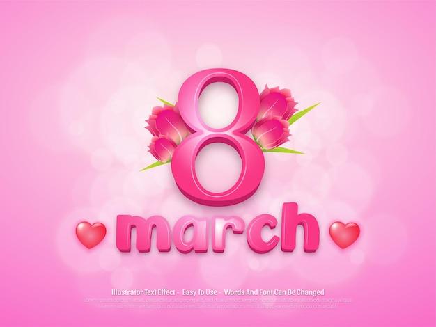 편집 가능한 3 월 여성의 날 배경 디자인 템플릿 프리미엄 벡터