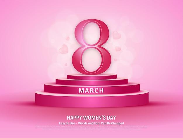 편집 가능한 3 월 여성의 날 연단 배경 디자인 템플릿