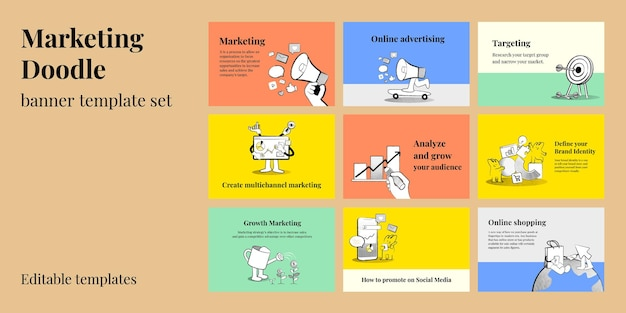 Editable marketing banner templates vector doodle illustrations for business set