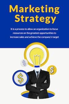 Modello di strategia di marketing modificabile con supporti remixati da uomo d'affari e lampadina