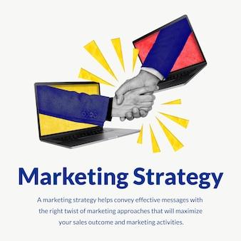 Modello di strategia di marketing modificabile con media remixati con stretta di mano in rete online