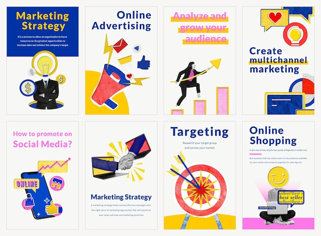 Vettore di modelli di marketing modificabili per media remixati aziendali di e-commerce compatibili con il set di intelligenza artificiale