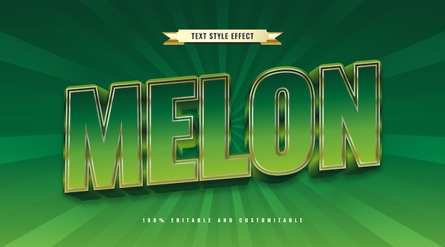Editable melon text in green and gold with 3d effect. editable text effect