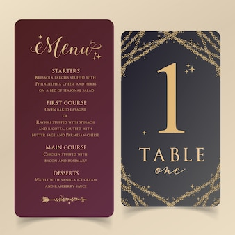 Editable menu template with table number card