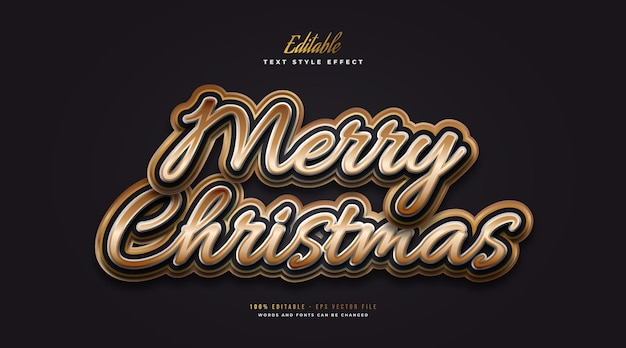 Editable merry christmas text in black and gold style with embossed effect. editable text style effect