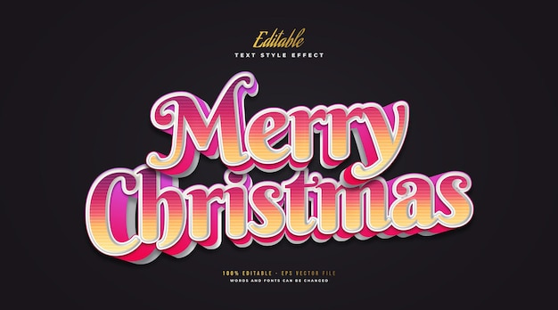 Editable merry christmas text in colorful style and 3d effect. editable text style effect