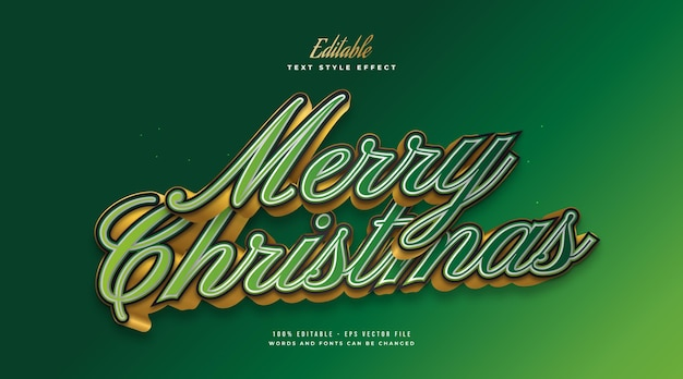 Editable merry christmas text in elegant green and gold style with 3d effect. editable text style effect