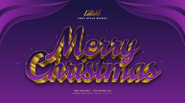 Editable merry christmas text in elegant purple and gold with 3d embossed effect. editable text style effect
