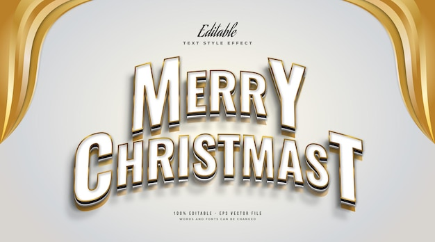 Editable merry christmas text in elegant white and gold style with curved and 3d effect. editable text style effect