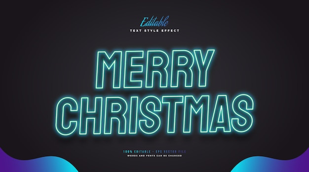 Editable merry christmas text in glowing blue neon effect. editable text style effect