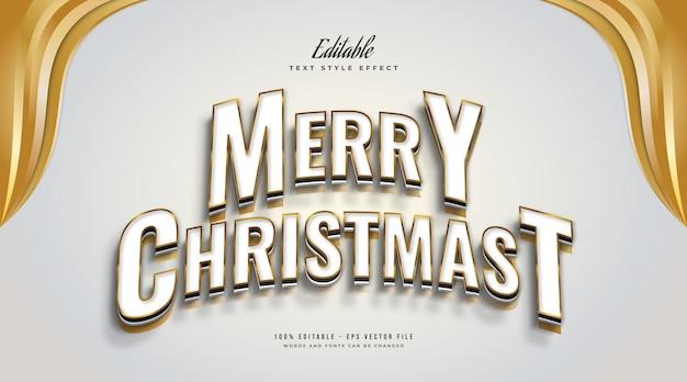 곡선 및 3d 효과가 있는 우아한 흰색 및 금색 스타일의 편집 가능한 메리 크리스마스 텍스트. 편집 가능한 텍스트 스타일 효과