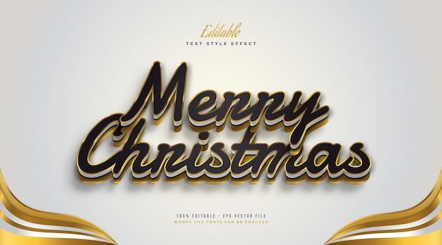 3d 효과가 있는 고급 블랙 및 골드 스타일의 편집 가능한 메리 크리스마스 텍스트. 편집 가능한 텍스트 스타일 효과