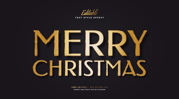 양각 효과와 럭셔리 골드 스타일의 편집 가능한 메리 크리스마스 텍스트. 편집 가능한 텍스트 스타일 효과