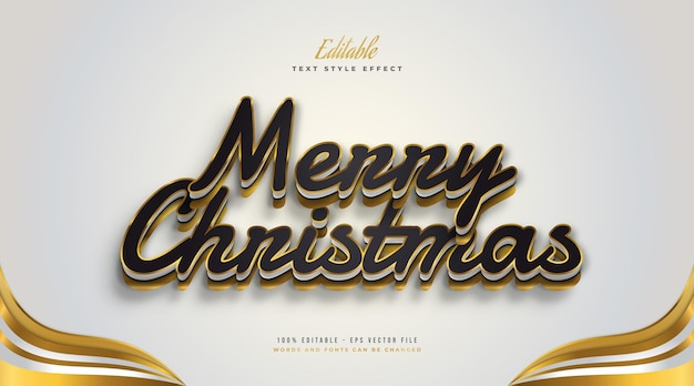 Editable merry christmas text in luxury black and gold style with 3d effect. editable text style effect