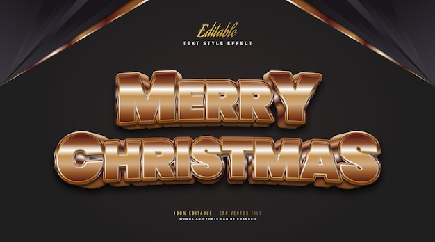 Editable merry christmas text in luxury bold gold style with 3d and shiny effect. editable text style effect