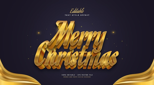 Editable merry christmas text in luxury gold style with 3d effect. editable text style effect