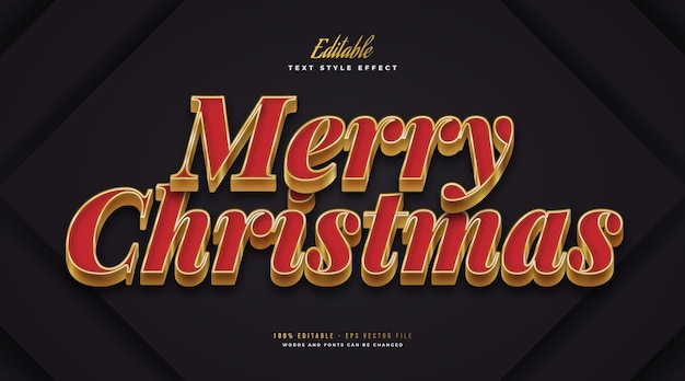 Editable merry christmas text in luxury red and gold style. editable text style effect